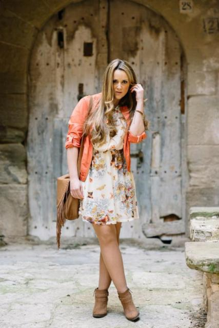 With floral dress, brown bag and boots