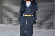With fur mini coat, sunglasses and leopard shoes