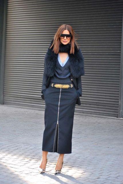 With fur mini coat, sunglasses and leopard shoes