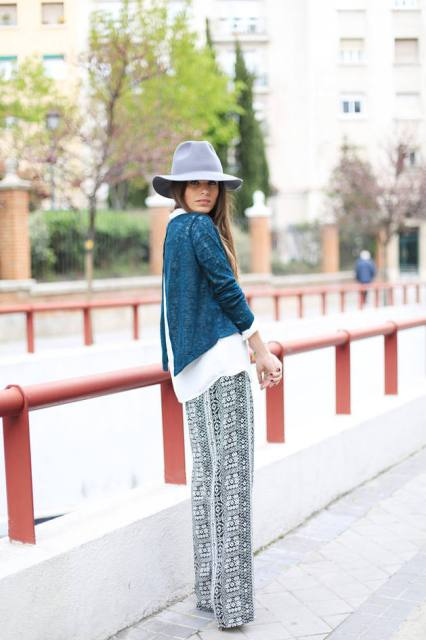 With gray hat and shirt