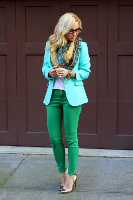 With green jeans, metallic heels and printed scarf