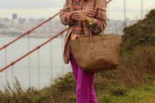 With jacket, peach shoes and big bag