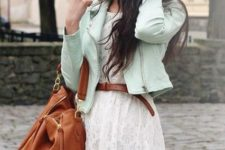 With lace dress, brown belt and bag