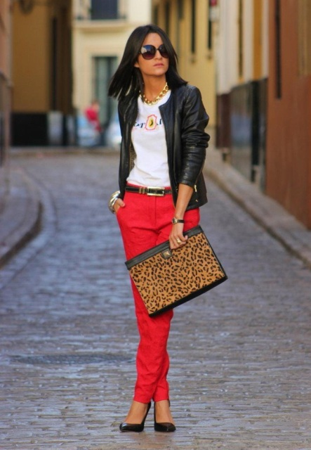 With leather jacket, leopard clutch and black shoes