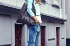 With light blue blazer, jeans, big bag and beanie