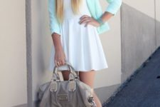 With mini white dress, mint shoes and gray bag