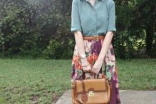 With mint shirt, floral midi skirt and leather bag