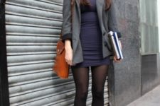 With navy blue mini dress, gray long jacket and black tights