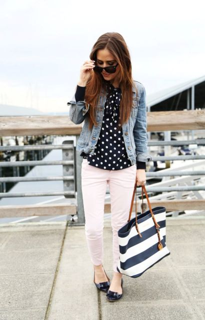 With polka dot blouse, denim jacket, striped bag and black flats