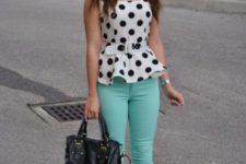 With polka dot peplum top, black flats and bag