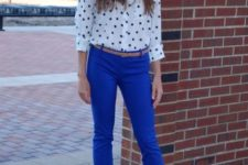 With polka dot shirt and beige shoes