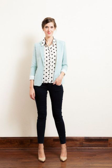 With polka dot shirt, skinny jeans and beige shoes