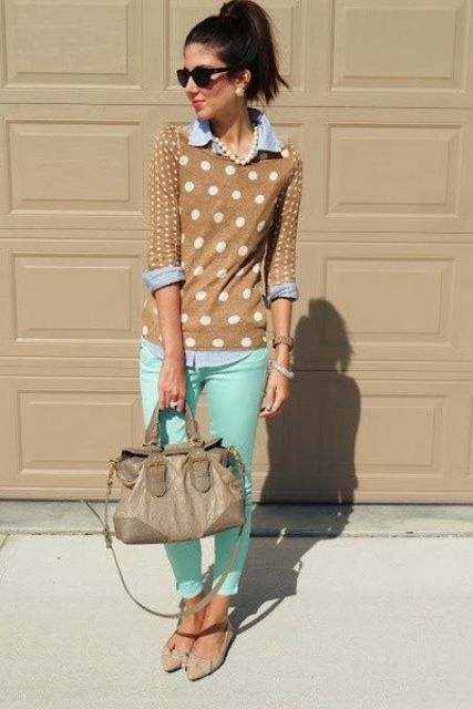 With polka dot sweater, denim shirt and flats
