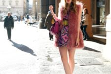 With printed mini dress, yellow wide belt, fur vest and purple bag