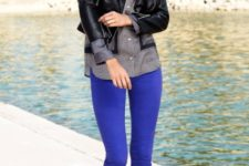 With printed shirt, black leather jacket and high heels