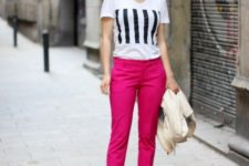 With printed t-shirt and striped shoes