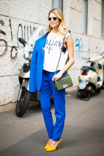 With printed top, cobalt blue pants and jacket