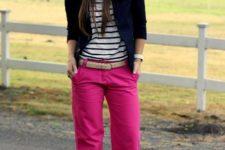 With striped shirt, blazer and beige belt