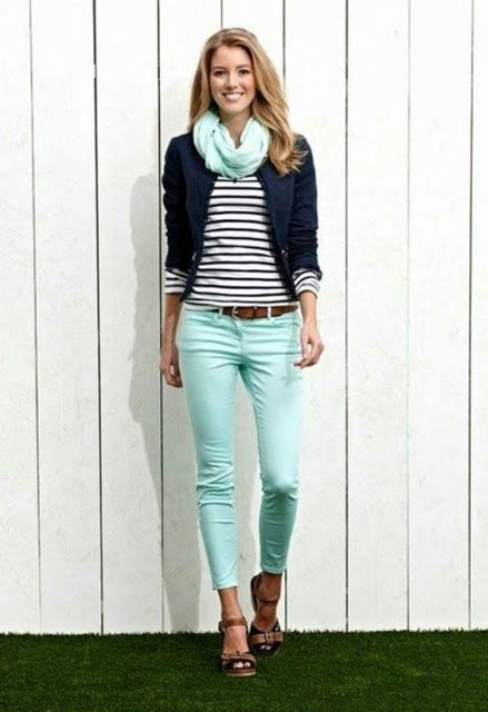 With striped shirt, mint scarf, navy blue jacket and sandals