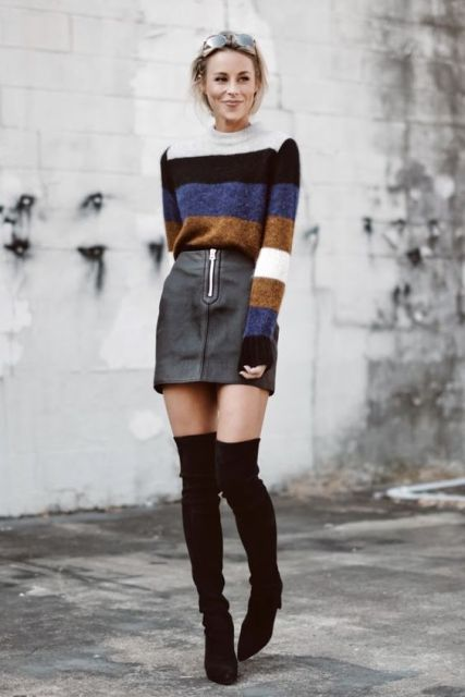 With striped sweater and over the knee boots