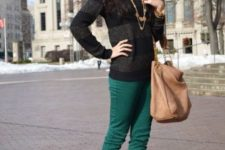 With striped sweater, leopard heels and big bag