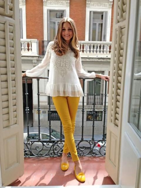 With white blouse and yellow flats