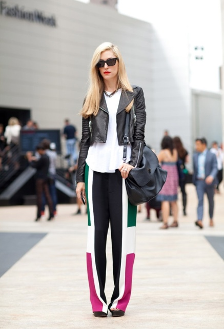 With white blouse, leather jacket and bag