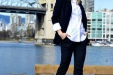 With white button down shirt, black blazer and pants