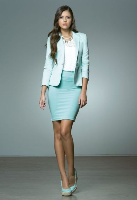 With white shirt, mint pencil skirt and shoes