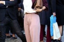 With white shirt, purple jacket, hat and brown shoes