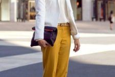 With white shirt, white jacket and leopard loafers