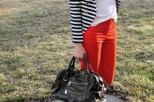 With white t-shirt, striped jacket, leopard pumps and black bag