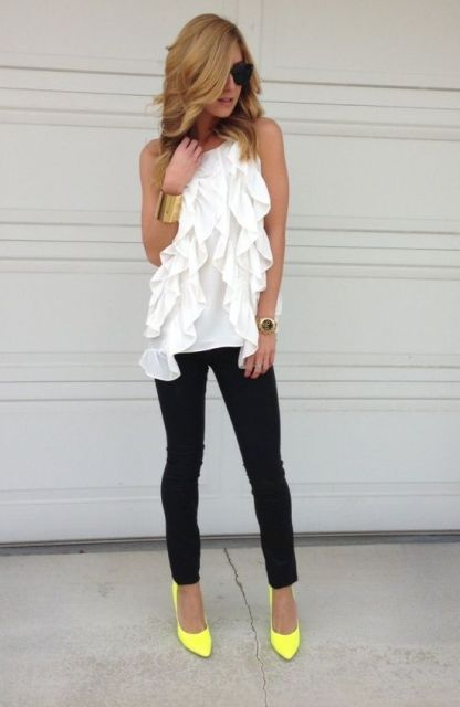 With white top and black pants