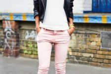 With white top, leather jacket and heels