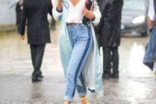 With white top, light blue coat and high-waisted jeans