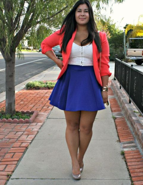 With white top, skater skirt and pumps