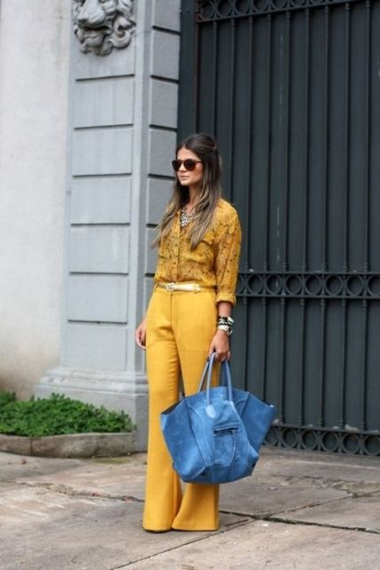 With yellow shirt and blue bag