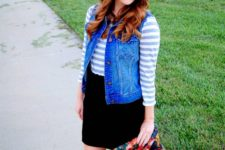 02 a black skirt, a striped shirt, a denim vest and nude boots
