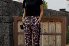02 a black tee, dark floral pants and black lace up heels