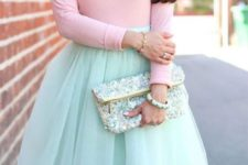 02 a mint tulle skirt, a pink long sleeve and a statement necklace