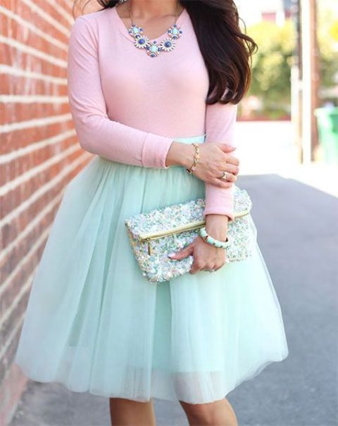 a mint tulle skirt, a pink long sleeve and a statement necklace
