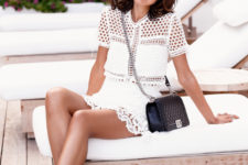 02 a white crochet lace mini dress and lace up sandals