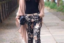03 a black top, black and blush floral pants, white shoes and a blush cardigan