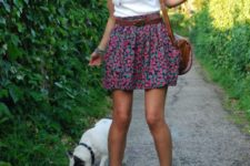 03 a bold floral mini, a white tee, lace up sandals