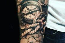 03 a part of a tattoo sleeve with rope and compasses