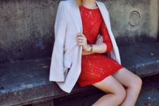 03 a red lace dress, a white blazer and heels