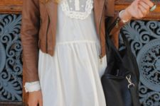 03 a white lace mini dress and a cognac leather jacket