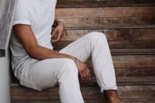 03 a white tee, white denim and brown moccasins