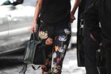 04 a black top, black floral pants and black heels