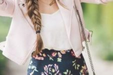 04 a floral mini with a scallope edge, a white top and a blush leather jacket